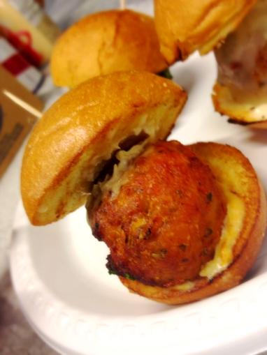 Buffalo Chicken Ball with blue cheese sauce